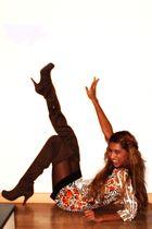 brown boots - orange BLANCO dress