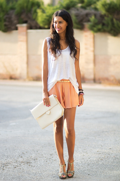 salmon Sheinside skirt - brown xti sandals