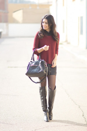 black Zara boots - black Lovelyshoes dress - crimson Lovelyshoes jumper