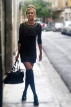 black westrags dress - black Topshop tights - black Topshop
