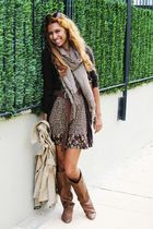 brown Bershka boots - brown Bershka dress - brown Bershka jacket