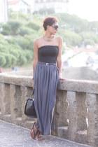 heather gray Primark skirt - black Bershka top