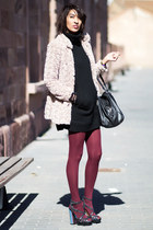 maroon Primark tights - black Zara dress - black naughty monkey sandals