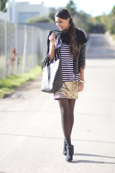 gold BLANCO dress - black BLANCO jacket