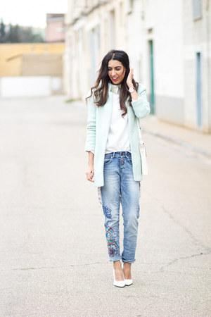 aquamarine Sheinside coat - blue desigual jeans - white Mango heels