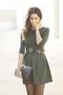 Forest-green-sheinside-dress-black-zara-belt