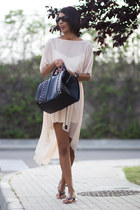 black Zara bag - Zara dress - Urban Outfitters flats