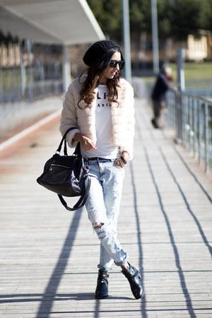 white Enedur shirt - ivory 6ks coat - light blue Zara pants