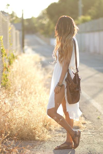 white 6ks dress - brown Megacalzado flats