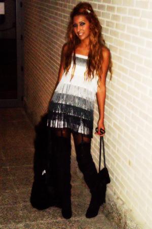 silver BLANCO dress - black Zara boots