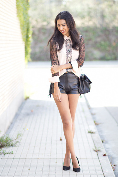 black vintage shorts - nude PERSUNMALL blouse