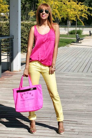 yellow Stradivarius jeans - bubble gum Marc by Marc Jacobs bag - hot pink BLANCO