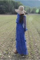 floppy hat H&M hat - Sister Birkin dress - leather Topshop wedges