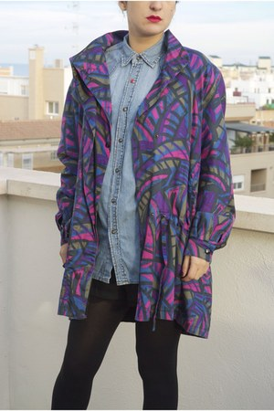 sky blue vintage shirt - purple jacket