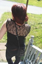 black Urban Outfitters jeans - gray thrifted bag - black lace top thrifted blous