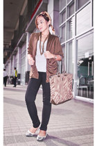 black Forever 21 jeans - tote Anne Klein bag - white Forever 21 blouse