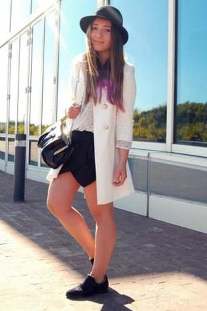 white Primark coat - Zara shorts - Taobao flats