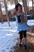 blue Wet Seal skirt - silver Forever 21 blouse - black Forever 21 boots