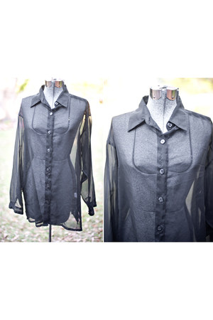 black sheer black thrifted vintage blouse