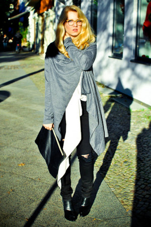 unknown cardigan - Alexander Wang boots - j-brand jeans - American Apparel bag