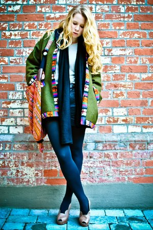forest green vintage jacket - black COS scarf - carrot orange unknown bag - blac