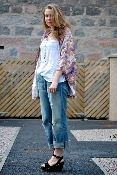 purple Winter Kate jacket - blue CurrentElliot jeans - white H&amp;M t-shirt - black