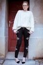 Black-ebay-jeans-ivory-vintage-jumper-black-zara-pumps