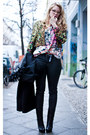 Black-ysl-boots-chartreuse-vintage-jacket-black-chanel-bag