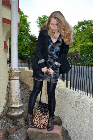 black Prose blazer - gray All Saints dress - black sass & bide leggings - brown