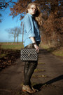 Sky-blue-vintage-shirt-brown-sam-edelman-boots-black-chanel-bag