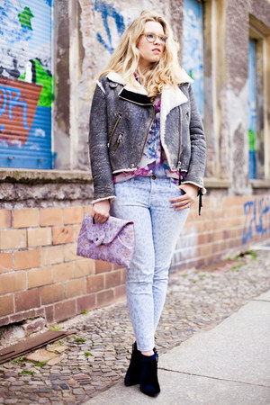 acne jacket - thakoon boots - Current Elliot jeans - Luella bag - vintage blouse
