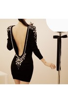 Backless Pearl Beaded Black Dress