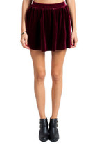 RED WINE VELVET MINI SKIRT