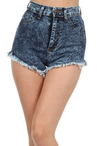 DARK DENIM HIGH WAISTED STONE WASH DENIM SHORTS