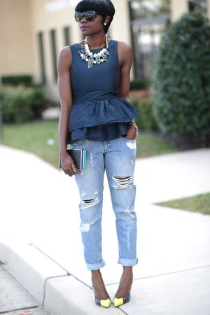 Zara necklace - River Island jeans - asos shirt - Zara bag - Aldo heels