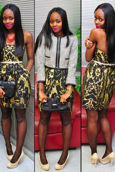 Bcbg Shoes Black And Gold H M Dress Blazer Clutch