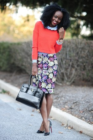 virgos lounge skirt - H&M sweater - Club Monaco shirt - Aldo bag