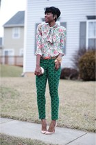 BCBG bracelet - JCrew pants - Zara blouse - Christian Louboutin pumps