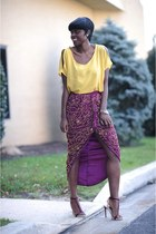 Embellished Skirt: Mustard + Burgundy.