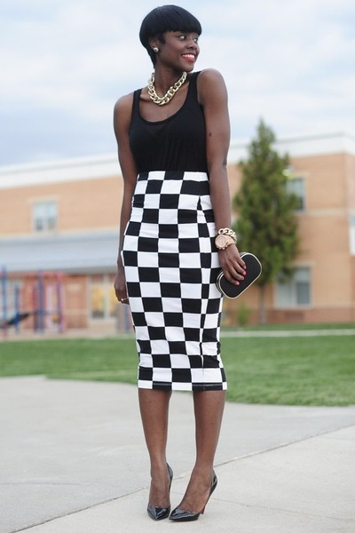 asos skirt - Aldo bag - Michael Kors watch - H&M top - Christianlouboutin pumps