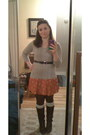 Dark-brown-unknown-boots-carrot-orange-lulus-dress-silver-ann-taylor-loft-sw