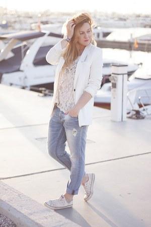 Zara jeans - pull&bear blazer - lace Zara top - Daniel Wellington watch