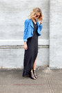 Charcoal-gray-flowy-maxi-h-m-divided-dress-sky-blue-costa-blanca-blazer