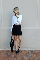 black fringe MinkPink skirt - black tote H&M bag - white button up H&M top