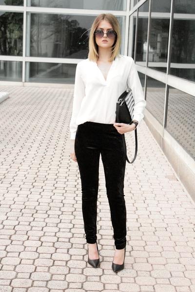 white Choies top - black GoJane blazer - black velvet H&M pants