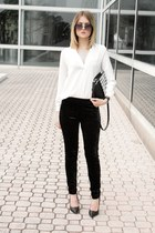 white Choies top - black GoJane blazer - black velvet H&M pants