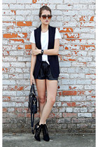black Anne Michelle boots - black sleeveless unknown brand blazer