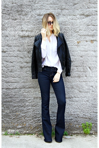 navy flare Articles of Society jeans - black faux-leather thrifted jacket