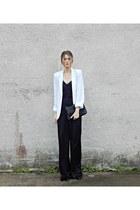 black jumpsuit H&M romper - white GoJane blazer - black Jessica Simpson bag