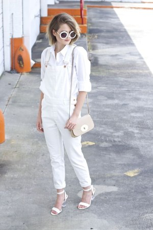 white overalls H&M jeans - tan crossbody coach bag - white round sunglasses
